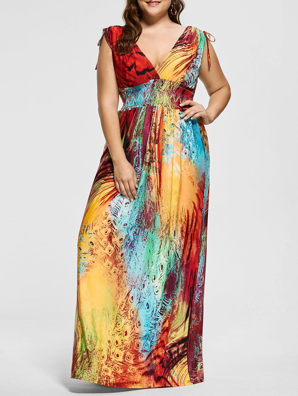 Floor Length Plunging Neck Printed Plus Size DressWOMEN<br><br>Size: 3XL; Color: MULTICOLOR; Style: Cute; Material: Polyester; Silhouette: A-Line; Dresses Length: Floor-Length; Neckline: Plunging Neck; Sleeve Length: Sleeveless; Pattern Type: Print; With Belt: No; Season: Summer; Weight: 0.5200kg; Package Contents: 1 x Dress;