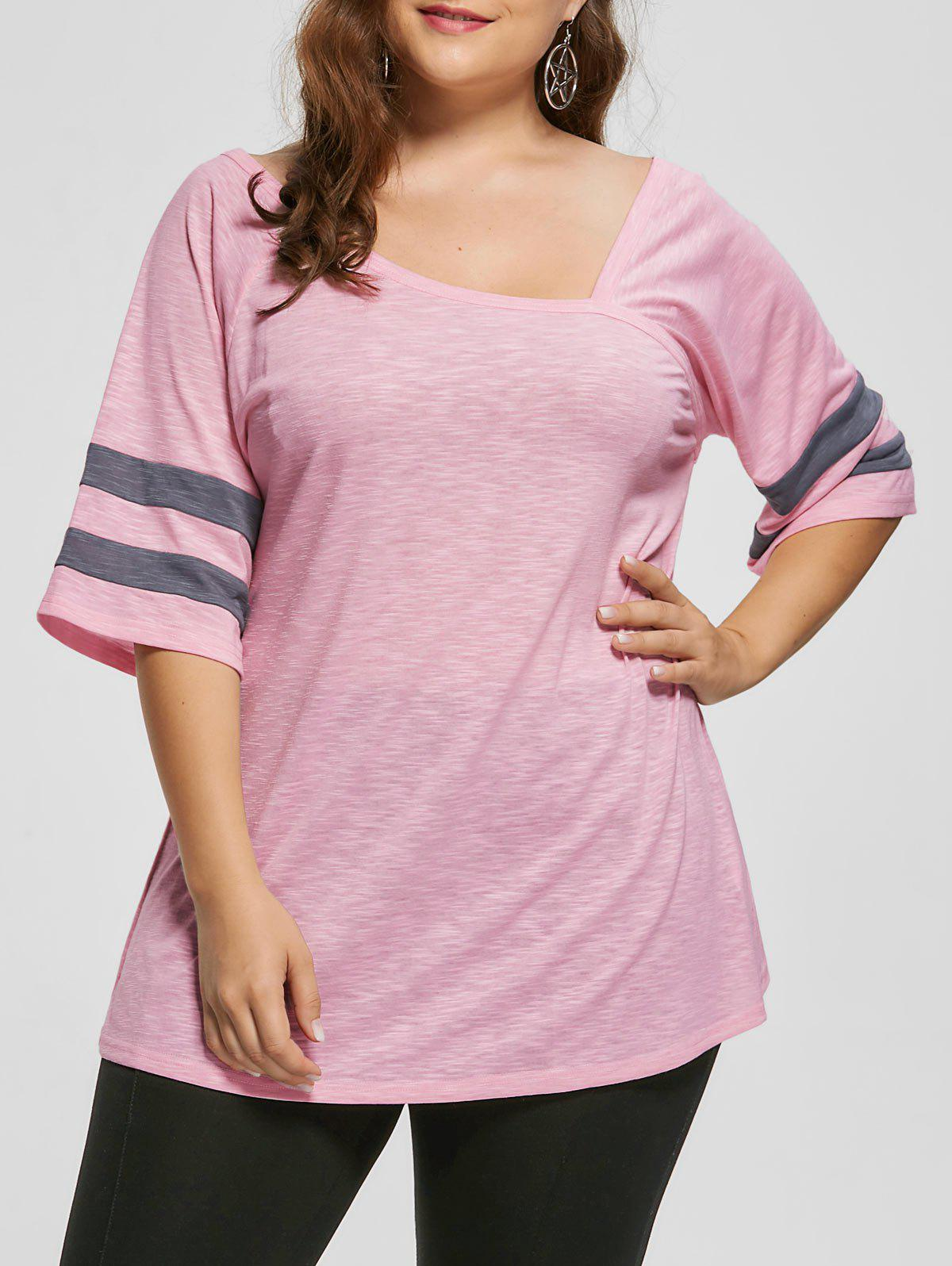 Plus Size Heather Skew Collar Tunic TopWOMEN<br><br>Size: 5XL; Color: LIGHT PINK; Material: Polyester,Spandex; Shirt Length: Long; Sleeve Length: Half; Collar: Skew Collar; Style: Casual; Season: Fall,Spring,Summer; Pattern Type: Solid; Weight: 0.3000kg; Package Contents: 1 x Top;