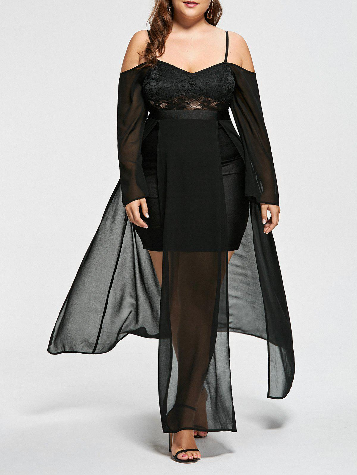 Plus Size Cold Shoulder Flowing Evening DressWOMEN<br><br>Size: 5XL; Color: BLACK; Style: Club; Material: Polyester; Silhouette: A-Line; Dresses Length: Mid-Calf; Neckline: Spaghetti Strap; Sleeve Length: Long Sleeves; Embellishment: Lace; Pattern Type: Solid Color; With Belt: No; Season: Fall,Spring,Summer; Weight: 0.4500kg; Package Contents: 1 x Dress;