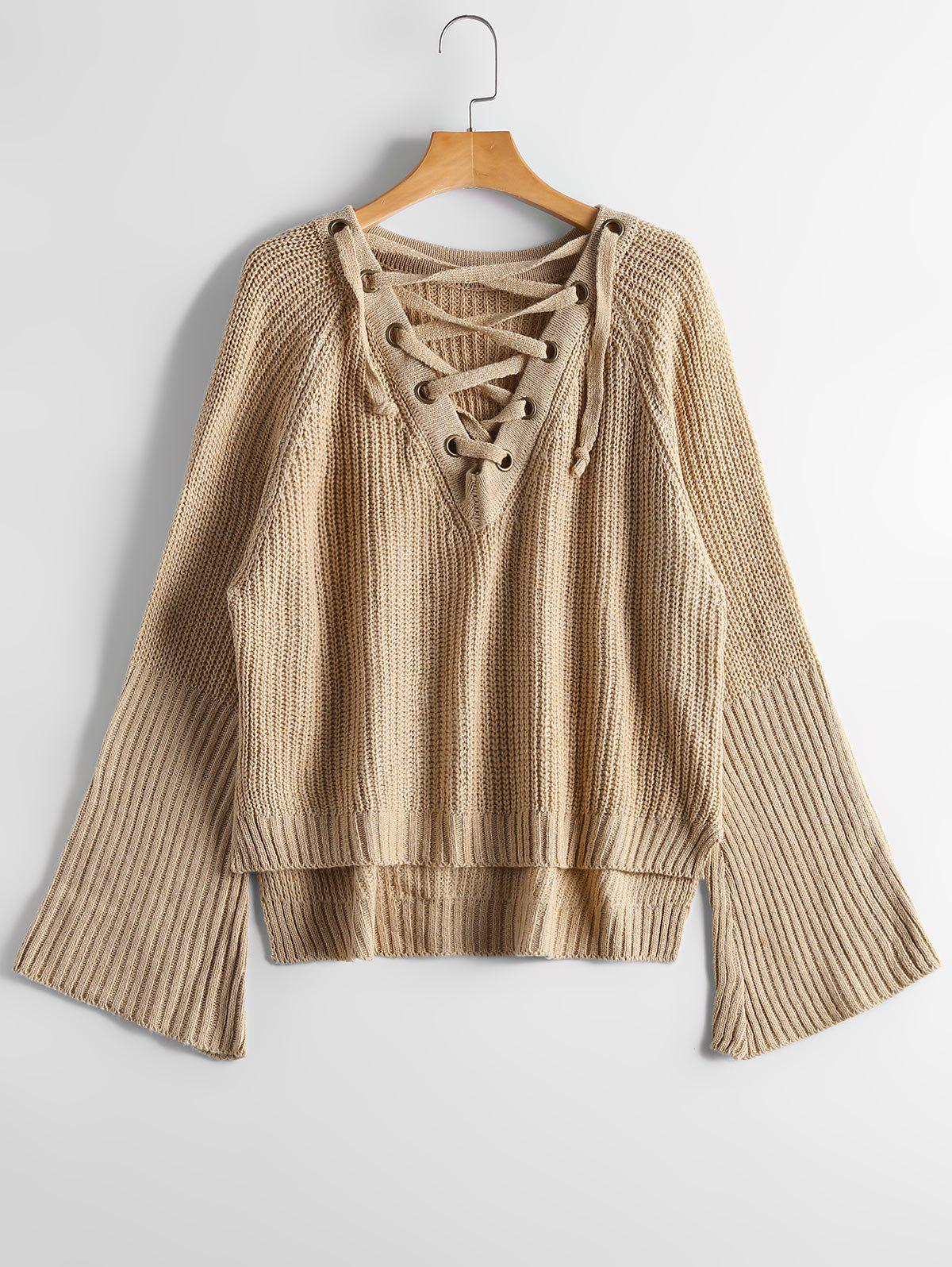High Low Lace Up Flare Sleeve SweaterWOMEN<br><br>Size: ONE SIZE; Color: CAMEL; Type: Pullovers; Material: Polyester,Spandex; Sleeve Length: Full; Collar: V-Neck; Style: Fashion; Pattern Type: Solid; Season: Fall,Winter; Weight: 0.4700kg; Package Contents: 1 x Sweater;