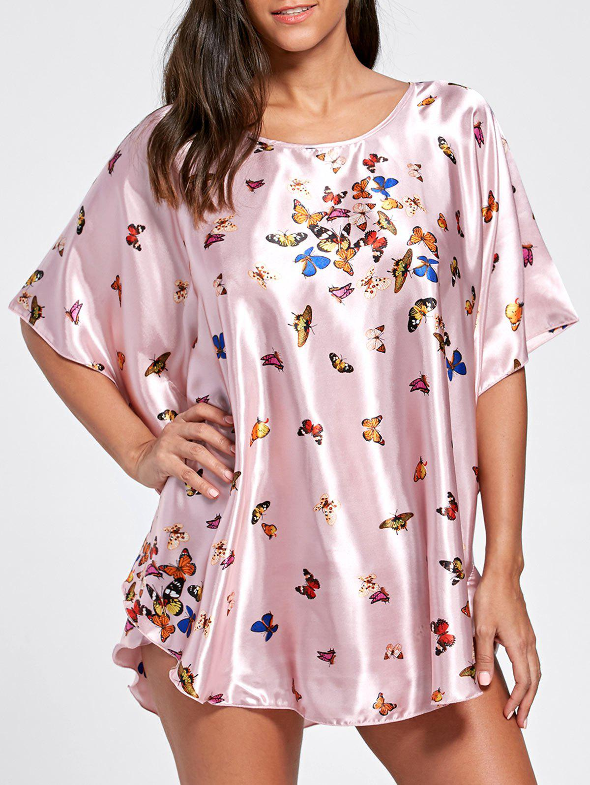 Batwing Sleeve Tunic Pajama TopWOMEN<br><br>Size: ONE SIZE; Color: LIGHT PURPLE; Material: Polyester; Pattern Type: Print; Weight: 0.2200kg; Package Contents: 1 x Top;