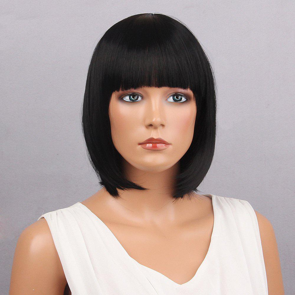 Short Full Bang Bob Straight Synthetic WigHAIR<br><br>Color: BLACK; Type: Full Wigs; Cap Construction: Capless; Style: Bob; Material: Synthetic Hair; Bang Type: Full; Length: Short; Length Size(CM): 30; Weight: 0.1150kg; Package Contents: 1 x Wig;