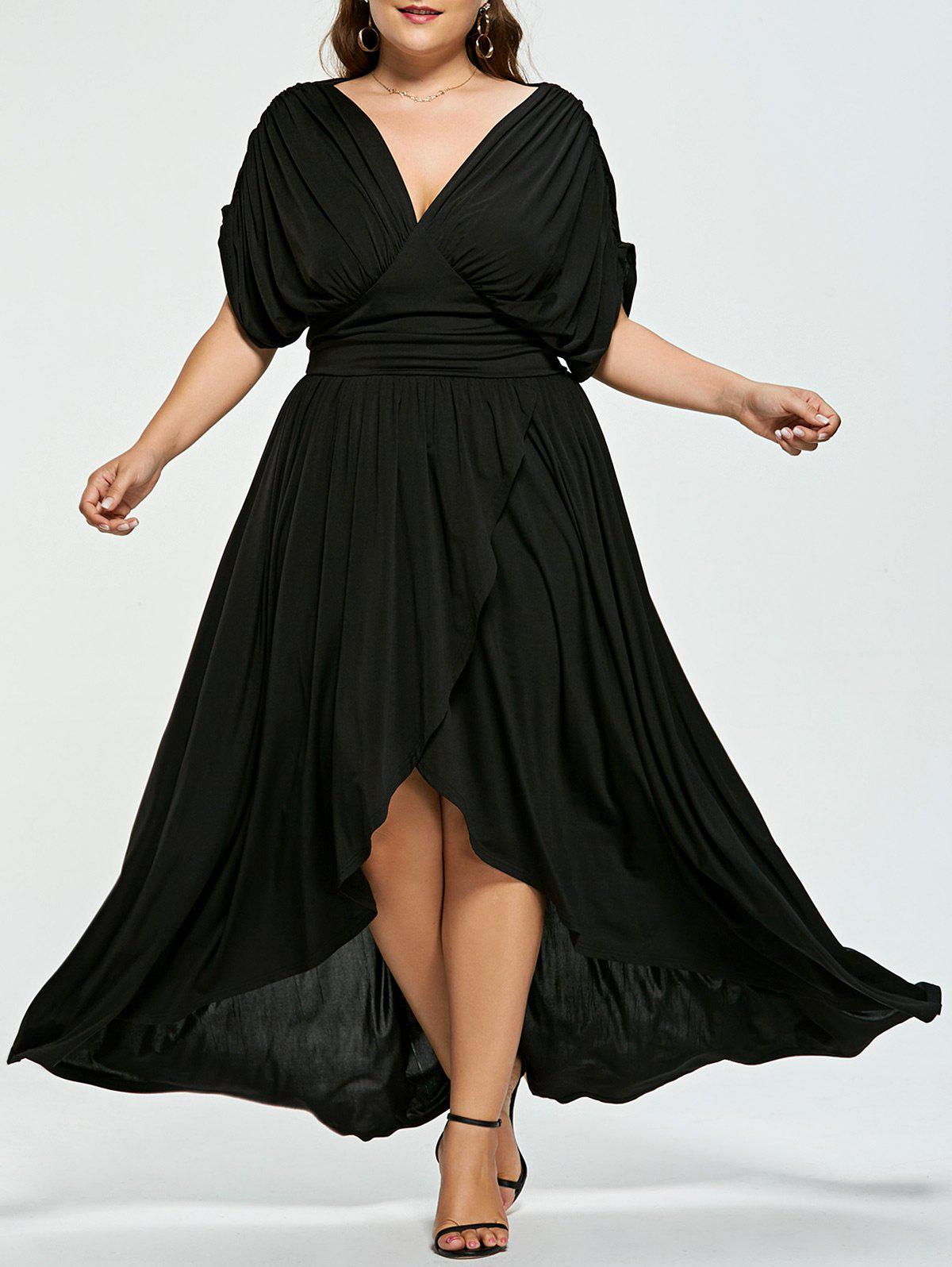 High Low Plus Size Maxi Flowy DressWOMEN<br><br>Size: 5XL; Color: BLACK; Style: Cute; Material: Polyester; Silhouette: Straight; Dresses Length: Floor-Length; Neckline: V-Neck; Sleeve Length: Short Sleeves; Pattern Type: Solid; With Belt: No; Season: Spring,Summer; Weight: 0.6700kg; Package Contents: 1 x Dress;