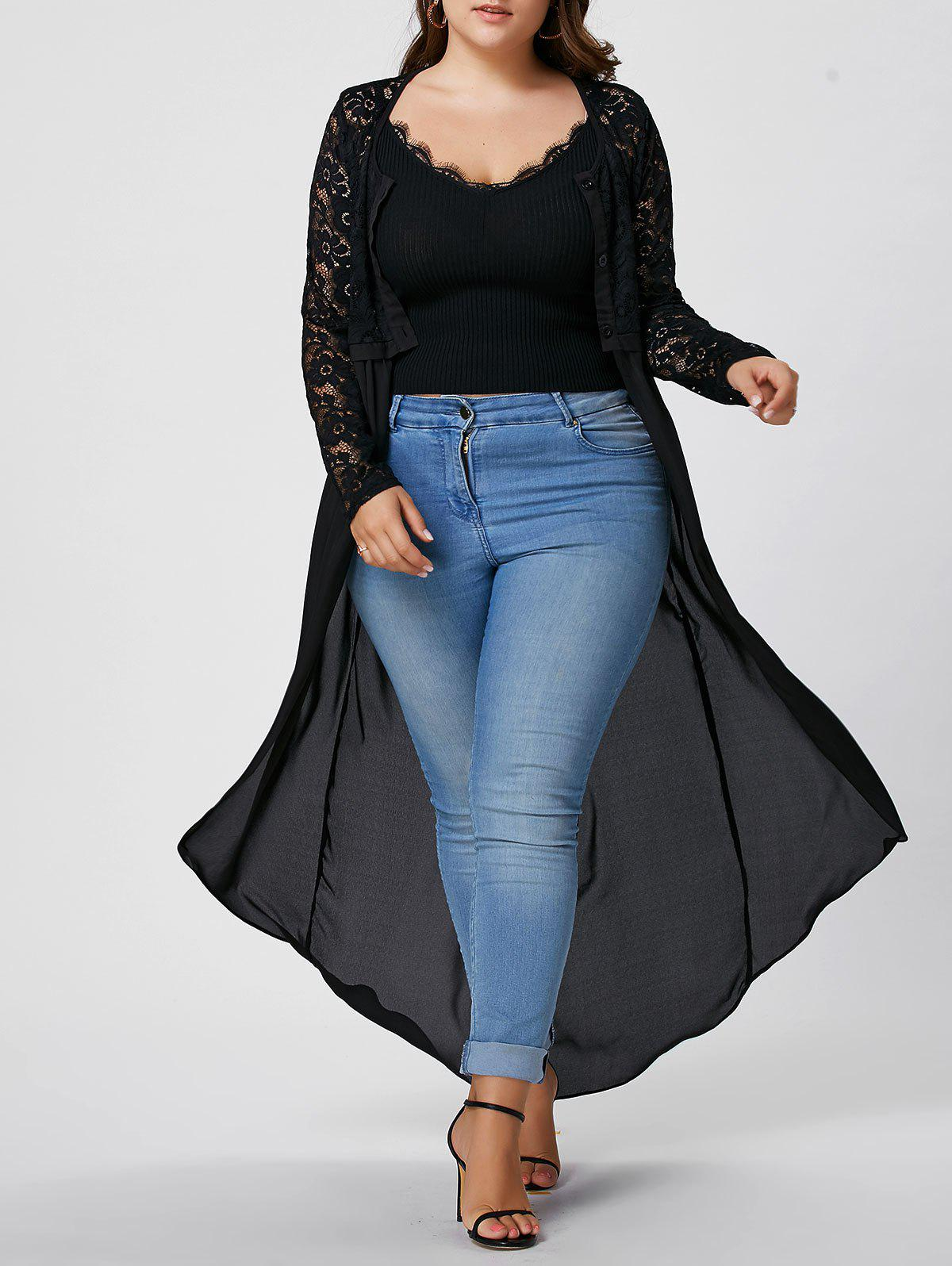 Plus Size Sheer Lace Chiffon Maxi Front Slit TopWOMEN<br><br>Size: 5XL; Color: BLACK; Material: Polyester; Fabric Type: Chiffon; Shirt Length: Long; Sleeve Length: Full; Collar: Scoop Neck; Style: Fashion; Season: Spring,Summer; Embellishment: Button,Hollow Out,Lace; Pattern Type: Solid; Weight: 0.2600kg; Package Contents: 1 x Top;
