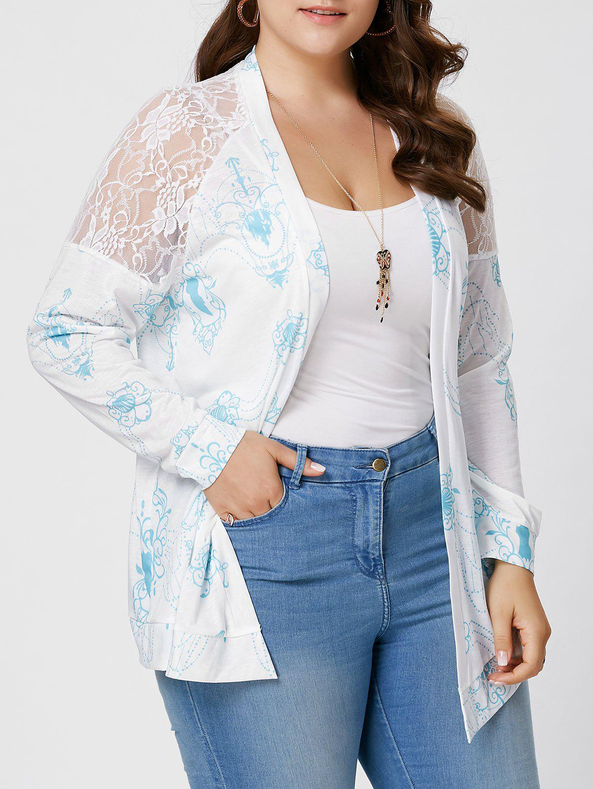 Sheer Back Lace Crochet Long Sleeve Plus Size CardiganWOMEN<br><br>Size: 5XL; Color: WHITE; Clothes Type: Others; Material: Cotton Blends,Polyester; Type: Slim; Shirt Length: Regular; Sleeve Length: Full; Collar: Collarless; Pattern Type: Print; Style: Fashion; Season: Fall,Spring; Weight: 0.2400kg; Package Contents: 1 x Cardigan;