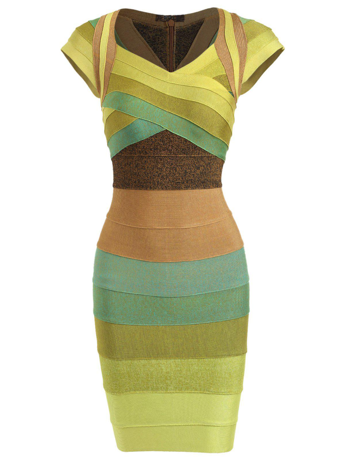 Affordable Cap Sleeve Color Block Bandage Dress