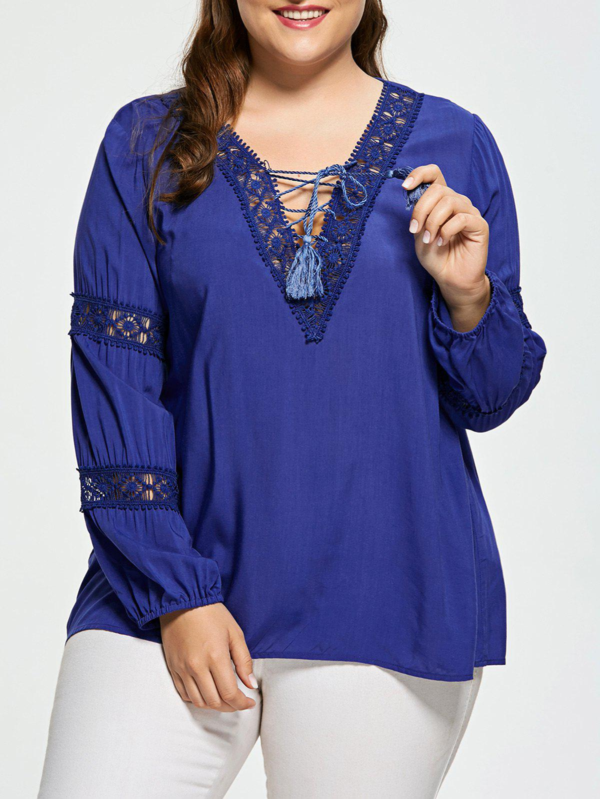 Lattice Plus Size Crochet Insert BlouseWOMEN<br><br>Size: 3XL; Color: DEEP BLUE; Material: Cotton Blends,Spandex; Shirt Length: Regular; Sleeve Length: Full; Collar: V-Neck; Style: Fashion; Season: Fall,Spring; Pattern Type: Solid; Weight: 0.2390kg; Package Contents: 1 x Blouse;