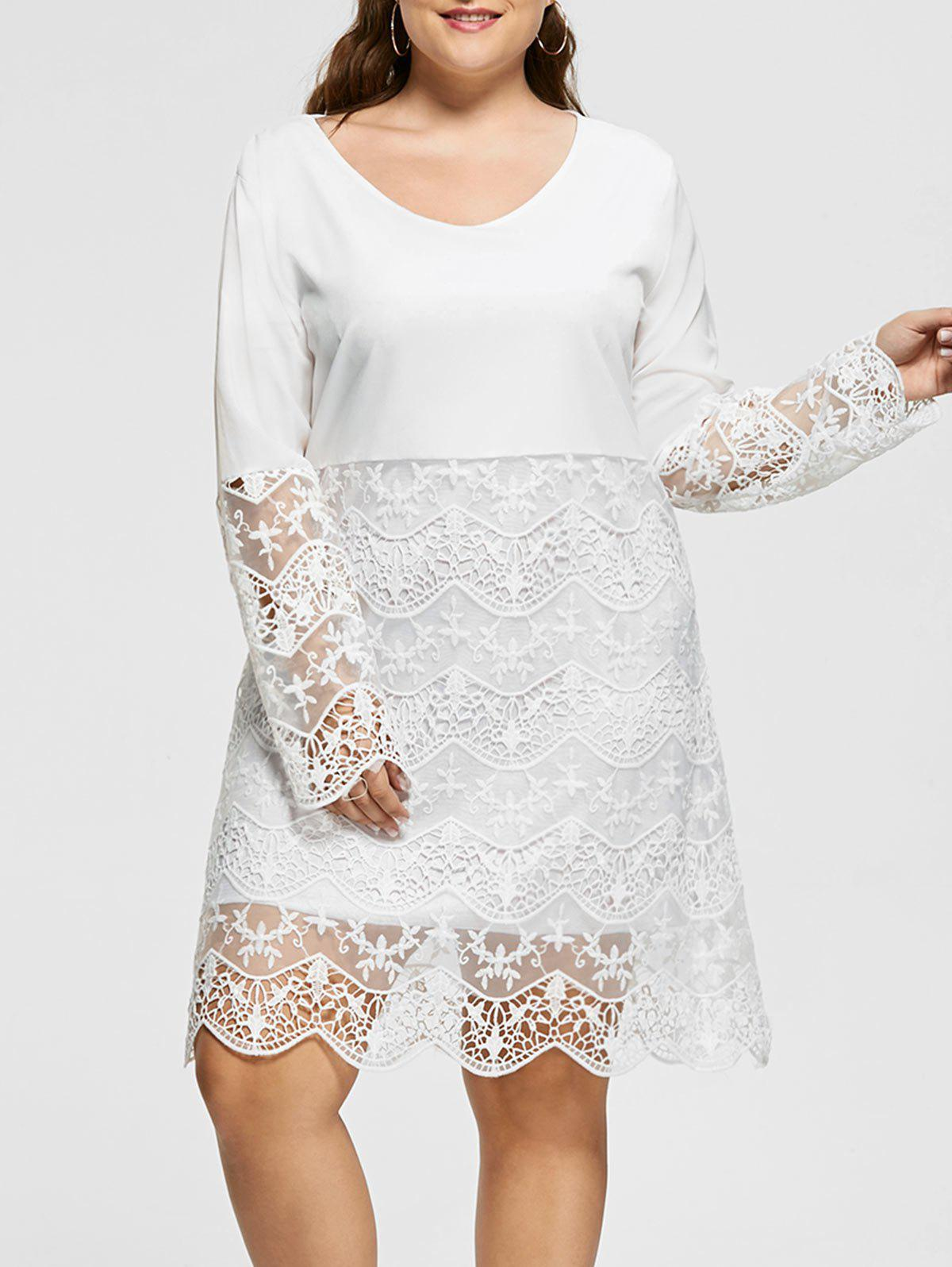 Long Sleeve Plus Size Lace Trim DressWOMEN<br><br>Size: 3XL; Color: WHITE; Style: Cute; Material: Polyester; Silhouette: Straight; Dresses Length: Knee-Length; Neckline: Round Collar; Sleeve Length: Long Sleeves; Pattern Type: Solid Color; With Belt: No; Season: Fall,Spring; Weight: 0.4200kg; Package Contents: 1 x Dress;