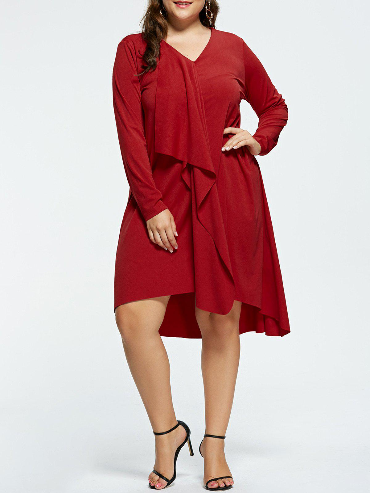 Plus Size V-neck High Low Party DressWOMEN<br><br>Size: 2XL; Color: RED; Style: Cute; Material: Polyester,Spandex; Silhouette: Asymmetrical; Dresses Length: Knee-Length; Neckline: V-Neck; Sleeve Length: Long Sleeves; Pattern Type: Solid; With Belt: No; Season: Fall,Spring; Weight: 0.5210kg; Package Contents: 1 x Dress;