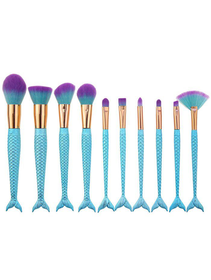10Pcs Mermaid Design Ombre Hair Makeup Brushes KitBEAUTY<br><br>Color: BLUE; Category: Makeup Brushes Set; Brush Hair Material: Synthetic Hair; Features: Travel; Season: Fall,Spring,Summer,Winter; Weight: 0.1000kg; Package Contents: 10 x Brushes(Pcs);