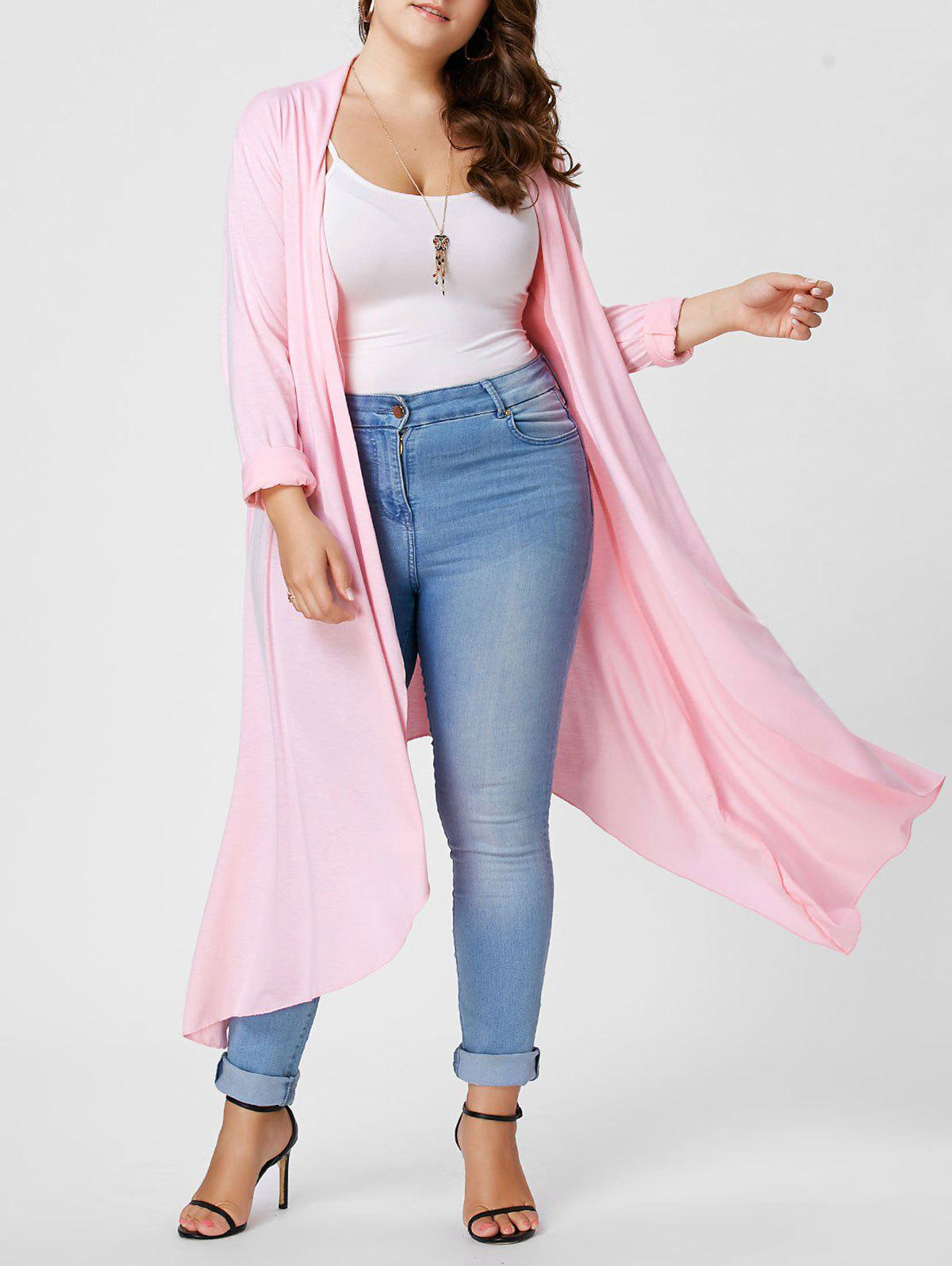 Plus Size Maxi Asymmetric Front Open CardiganWOMEN<br><br>Size: 2XL; Color: LIGHT PINK; Type: Cardigans; Material: Cotton,Polyester; Sleeve Length: Full; Collar: Collarless; Style: Casual; Season: Fall,Winter; Pattern Type: Solid; Weight: 0.4800kg; Package Contents: 1 x Cardigan;