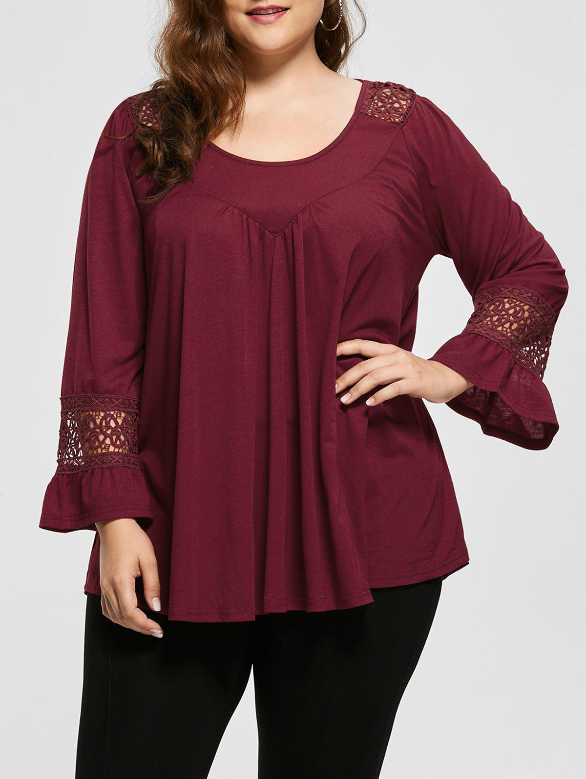 Plus Size Crochet Insert Long SLeeve TopWOMEN<br><br>Size: 5XL; Color: WINE RED; Material: Polyester; Shirt Length: Regular; Sleeve Length: Full; Collar: Round Neck; Style: Casual; Season: Fall,Spring; Pattern Type: Solid; Weight: 0.3700kg; Package Contents: 1 x Top;