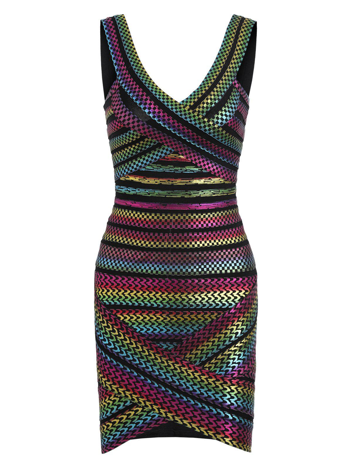 Bodycon Bronzing Rainbow Bandage Dress