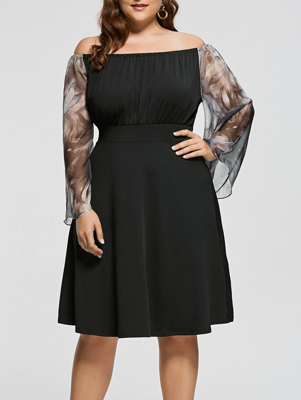 Plus Size Printed High Waist Off Shoulder DressWOMEN<br><br>Size: 2XL; Color: BLACK; Style: Casual; Material: Cotton,Polyester; Silhouette: A-Line; Dresses Length: Knee-Length; Neckline: Off The Shoulder; Sleeve Type: Flare Sleeve; Sleeve Length: Long Sleeves; Pattern Type: Floral; With Belt: No; Season: Fall,Spring; Weight: 0.3500kg; Package Contents: 1 x Dress;
