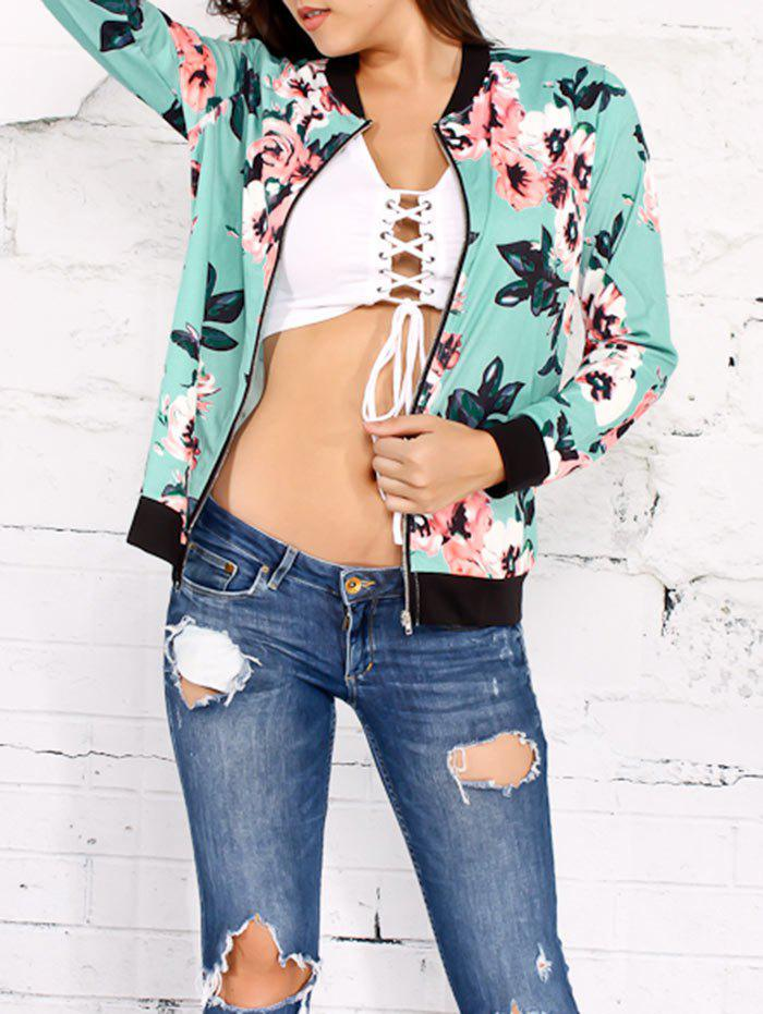 Outfit Zippered Flower Printed Jacket