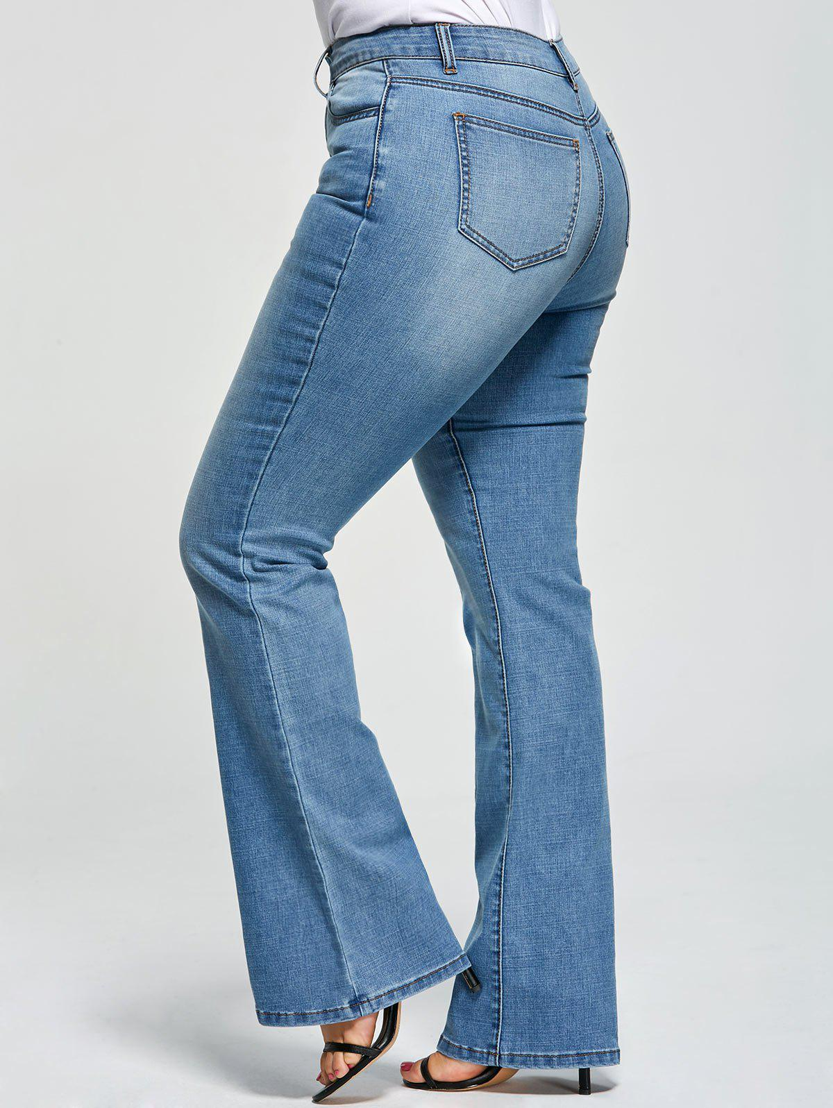 Plus Size Five Pockets Denim Flare JeansWOMEN<br><br>Size: XL; Color: DENIM BLUE; Style: Fashion; Length: Normal; Material: Polyester,Spandex; Fit Type: Regular; Waist Type: Mid; Closure Type: Zipper Fly; Pattern Type: Solid; Embellishment: Pockets; Pant Style: Flare Pants; Weight: 0.3900kg; Package Contents: 1 x Jeans;