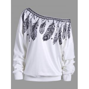 Drop Shoulder Feather Print Skew Neck Sweatshirt