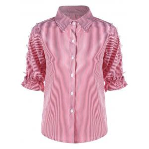 Button Up Cutout Pinstriped Shirt - Pink - 2xl