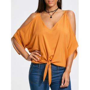 Cold Shoulder Tie Front Batwing Sleeve Blouse