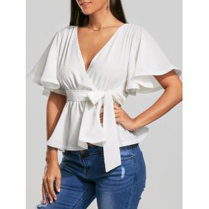Plunging Neckline Bowknot Belted Peplum Surplice Blouse