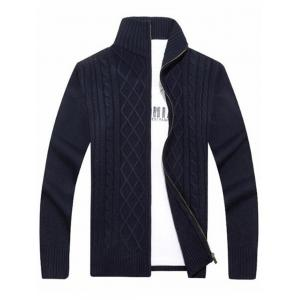 High Neck Cable Knit Sweater Cardigan - Blue - L