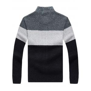 Stand Collar Color Block Sweater Cardigan - GRAY S
