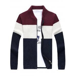 Stand Collar Color Block Sweater Cardigan - Wine Red - S