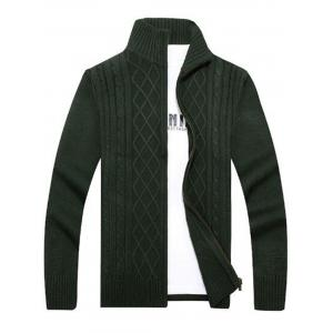 High Neck Cable Knit Sweater Cardigan - Green - L