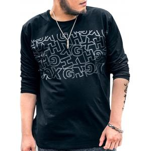 Graphic Plus Size Long Sleeve T-shirt - Black - 4xl