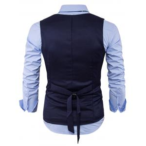 Single Breasted V Neck Back Belt Waistcoat - CADETBLUE L