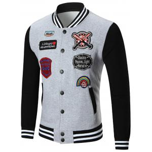 Button Up Patched Baseball Jacket