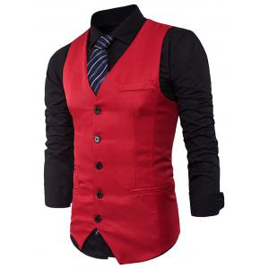Single Breasted V Neck Edging Waistcoat - RED XL