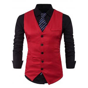 Single Breasted V Neck Edging Waistcoat