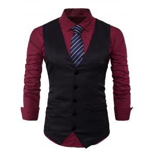 Single Breasted Edging Design Waistcoat - Black - M
