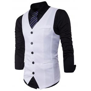 Single Breasted V Neck Edging Waistcoat - WHITE M