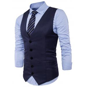 Single Breasted Edging Design Waistcoat - CADETBLUE 2XL