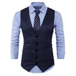 Single Breasted Edging Design Waistcoat - Cadetblue - M