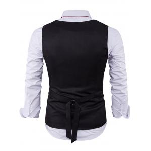 V Neck Color Block Edging Waistcoat - BLACK XL