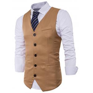 Single Breasted V Neck Edging Waistcoat - KHAKI M