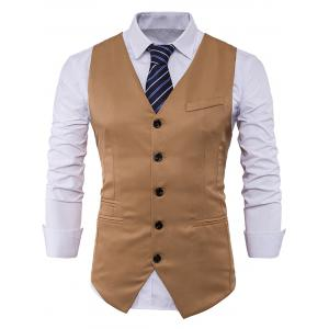 Single Breasted V Neck Edging Waistcoat - Khaki - M