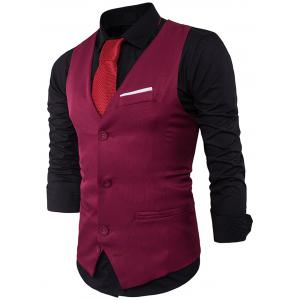 V Neck Color Block Edging Waistcoat - WINE RED L