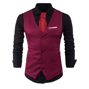 V Neck Color Block Edging Waistcoat