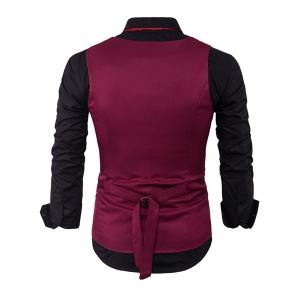 V Neck Color Block Edging Waistcoat - WINE RED M