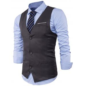 V Neck Color Block Edging Waistcoat - GRAY XL