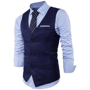 V Neck Color Block Edging Waistcoat - CADETBLUE 2XL