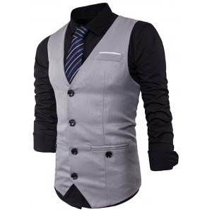 Single Breasted V Neck Back Belt Waistcoat