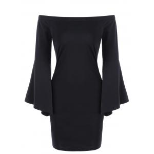 Off Shoulder Flare Sleeve Sheath Dress