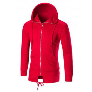 Distressed Zip Up Hoodie with Drawstring Hem - Red - M