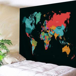 World Map Print Tapestry Wall Hanging Decoration - Colormix - W71 Inch * L79 Inch