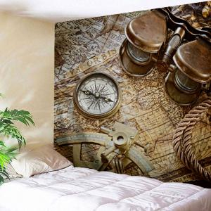 Retro Compass Map Print Tapestry Wall Hanging Art Decoration